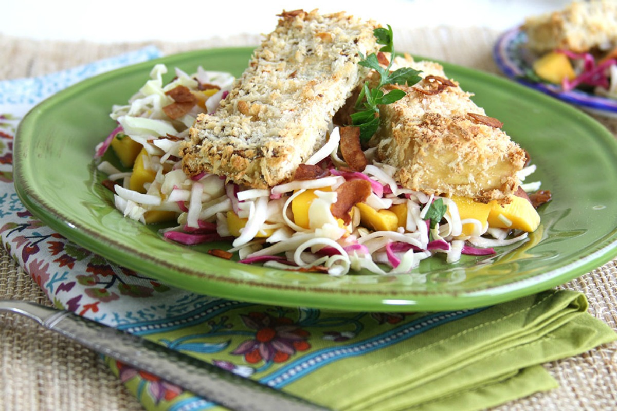 Sesame Cabbage Salad With Coconut Crusted Tofu [Vegan]