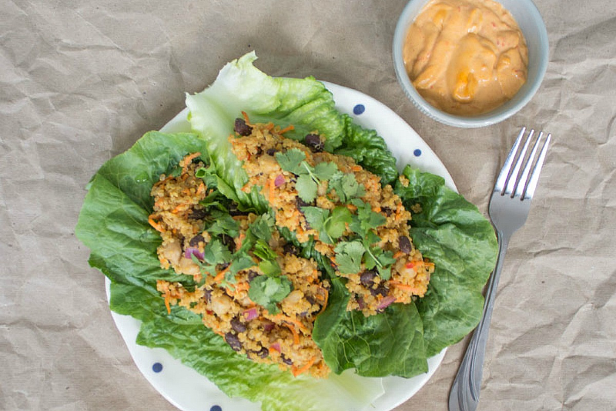 Harissa Tahini Romaine Wraps and Salad [Vegan, Gluten-Free]
