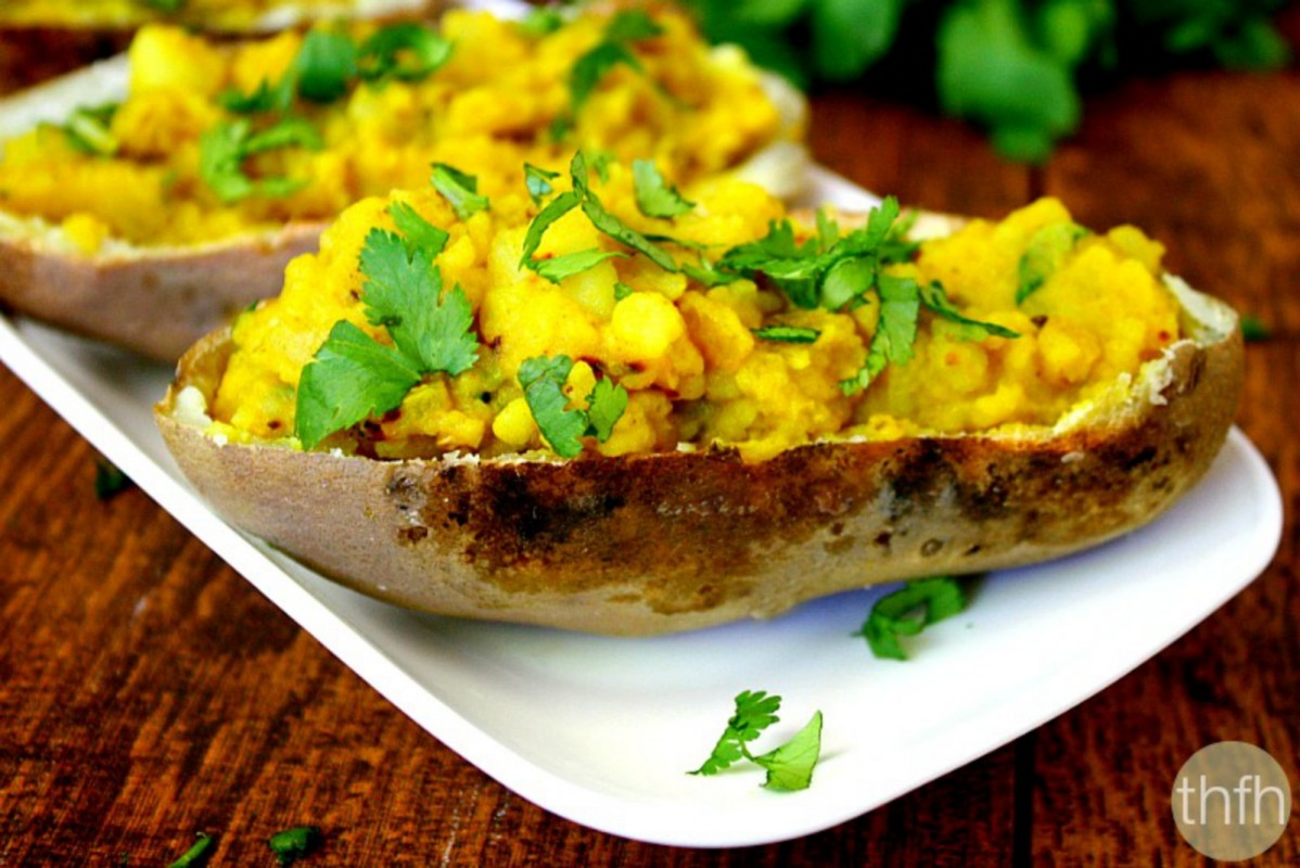 spicy turmeric twice baked potatoes