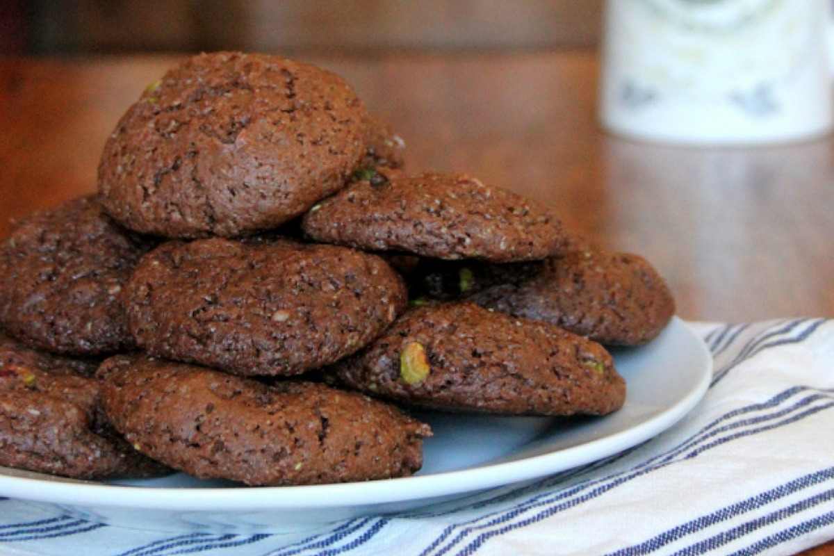 Fudgy Chocolate, Pistachio and Pumpkin Seed Butter Cookies [Vegan]
