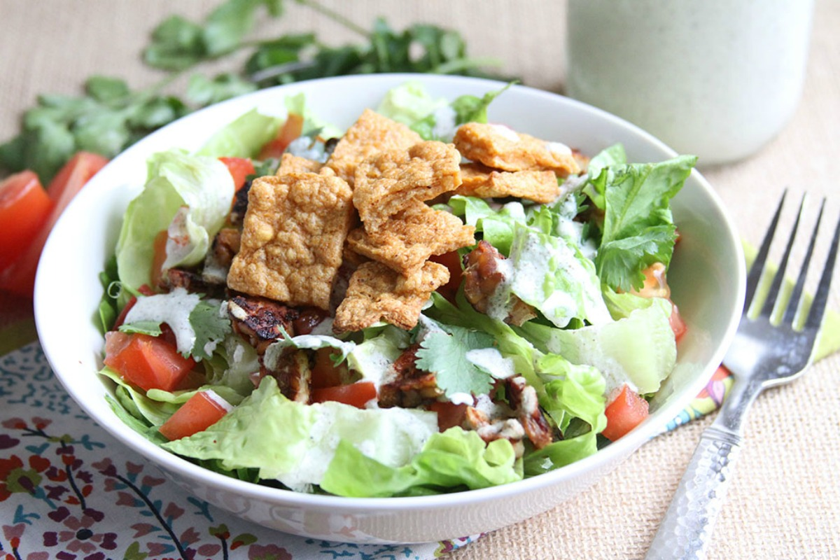 Classic BLT Salad With Creamy Ranch and Chickpea Croutons [Vegan, Gluten-Free]