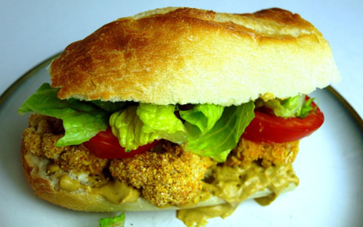 Crispy Cauliflower Po' Boy Sandwich with Remoulade Sauce [Vegan]