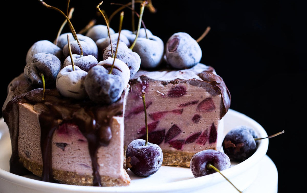 No-Bake Cherry Chocolate Cheesecake [Vegan, Gluten-Free]