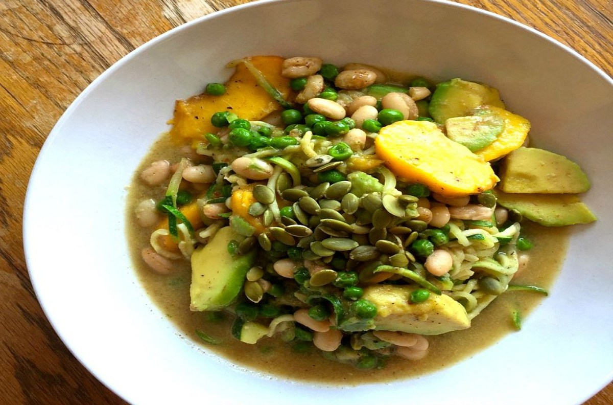 'Zoodles' With Avocado, Peaches, and White Beans [Vegan, Gluten-Free]