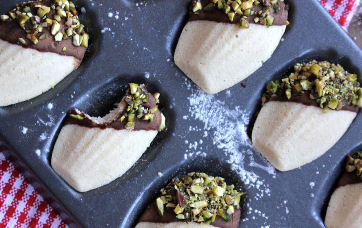 Vanilla Madeleines With Chocolate and Pistachio Ganache [Vegan, Gluten-Free]