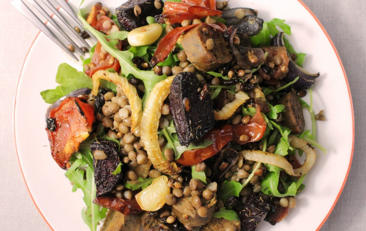 Roasted Balsamic Beet, Sausage, and Lentil Bowls [Vegan]