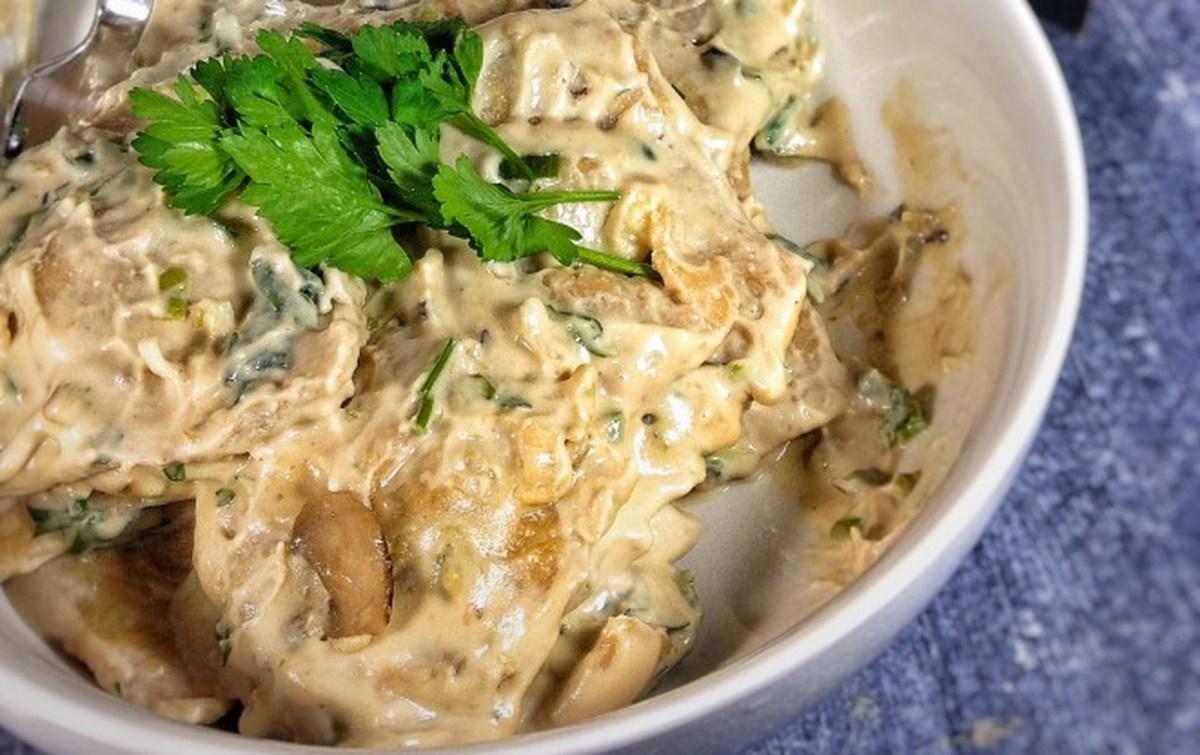 Mushroom Ravioli With Creamy Leek Sauce [Vegan]