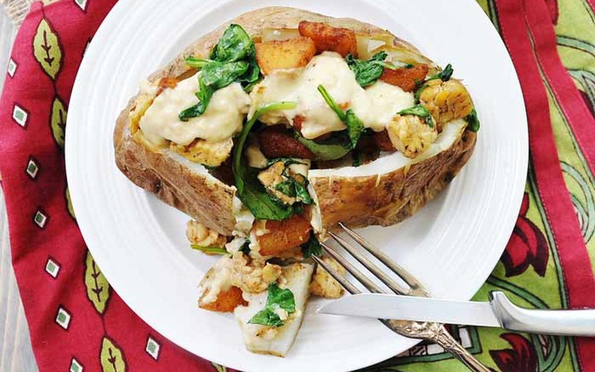 Smoky Apple and 'Cheddar' Stuffed Baked Potato [Vegan, Gluten-Free]