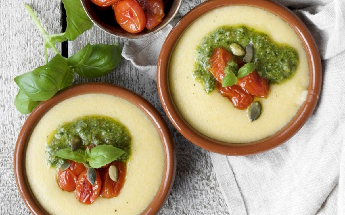 Creamy Polenta With Baked Cherry Tomatoes and Walnut Pesto [Vegan, Gluten-Free]