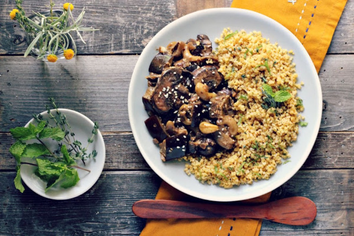 Eggplant and Mushroom Saute With Herbed Toasted Millet