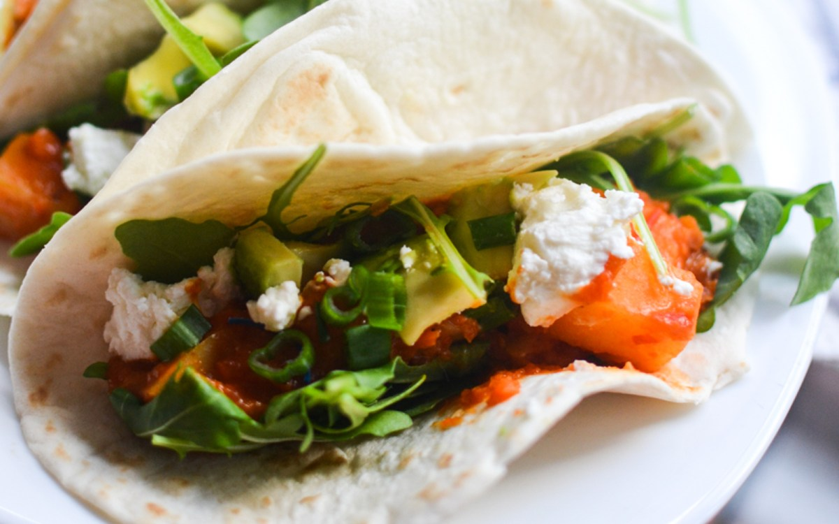 Moroccan Potato Lentil Tacos With Harissa