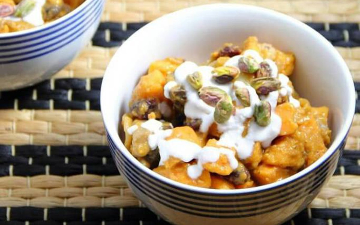 Sweet Potato Coconut Curry With Cranberries and Pistachios