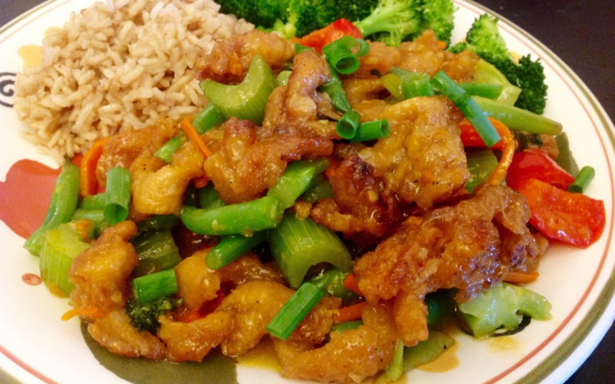 Orange 'Chicken' With Mixed Vegetables and Brown Rice