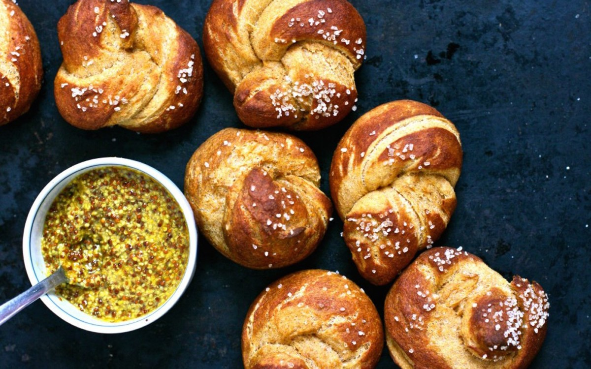 Sweet Potato Pretzel Knots With Curried Mustard
