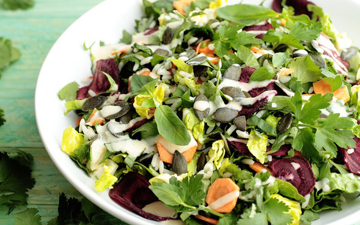 Herb and Rice Salad With Beetroot Chips