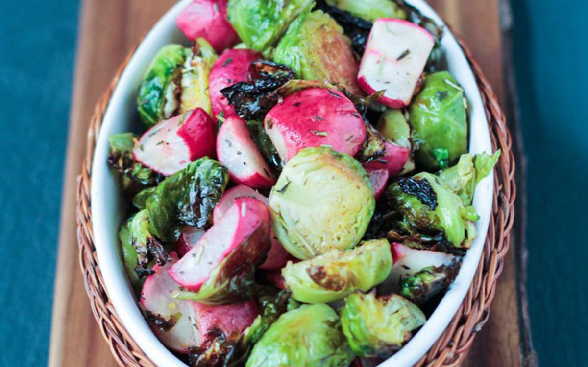Roasted Radish and Brussels Sprout Salad