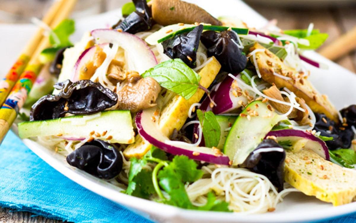 Roasted Tofu, Mushroom, and Rice Vermicelli Salad