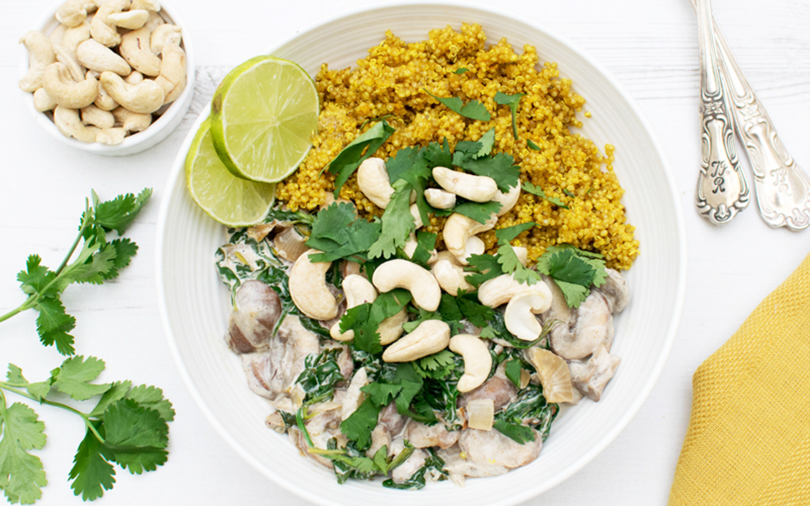 creamy mushrooms with turmeric quinoa