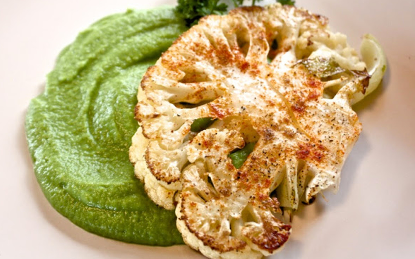 cauliflower steaks with sweet pea puree
