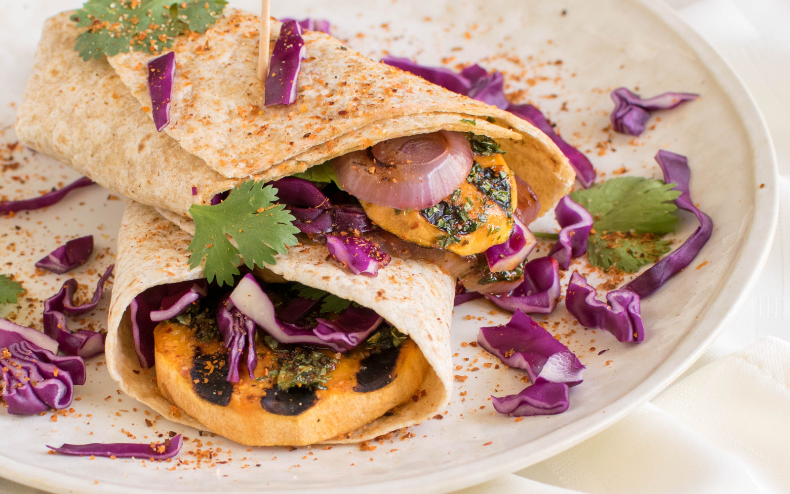 grilled sweet potato wraps