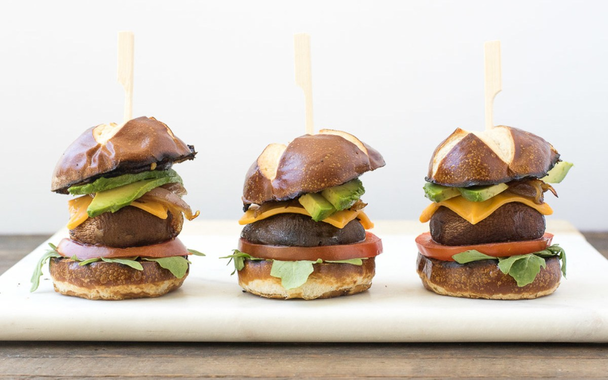 BBQ Portobello Pretzel Sliders