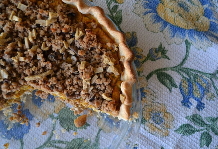 Savory Vegan Pumpkin Pie with Shiitake Mushroom Streusel