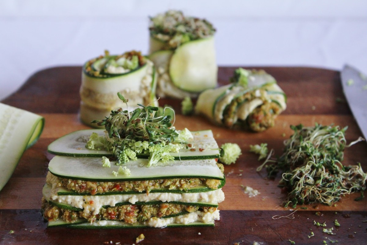 http://www.onegreenplanet.org/vegan-recipe/raw-lasagna-with-cashew-cheese-and-broccoli-sun-dried-tomato-pesto/