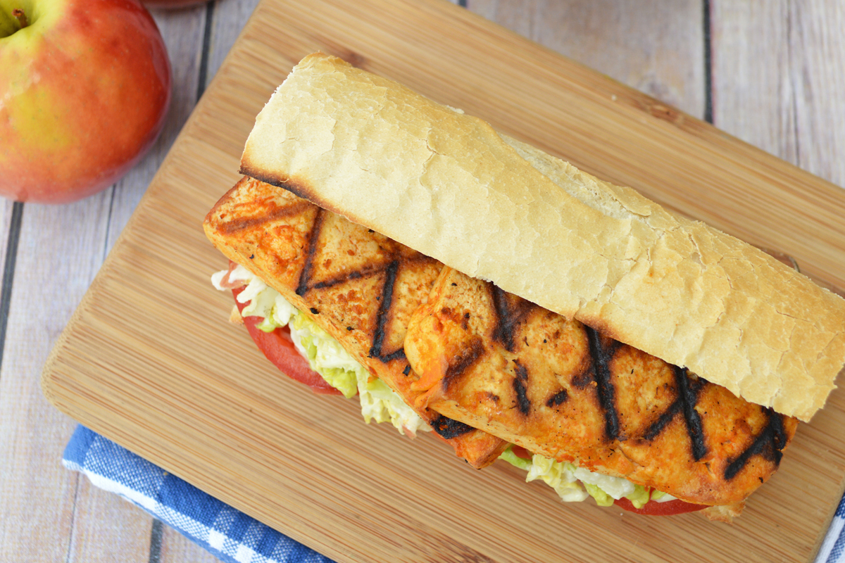 Grilled Buffalo Tofu Po' Boy with Apple Slaw