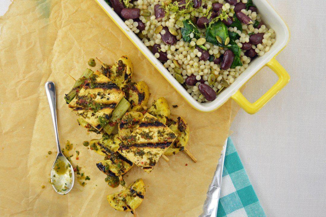 Grilled Tofu and Squash With Chimichurri Sauce and Couscous