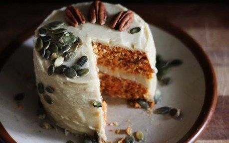 Raw Vegan Carrot Cake With Creamy Cashew Lemon Frosting