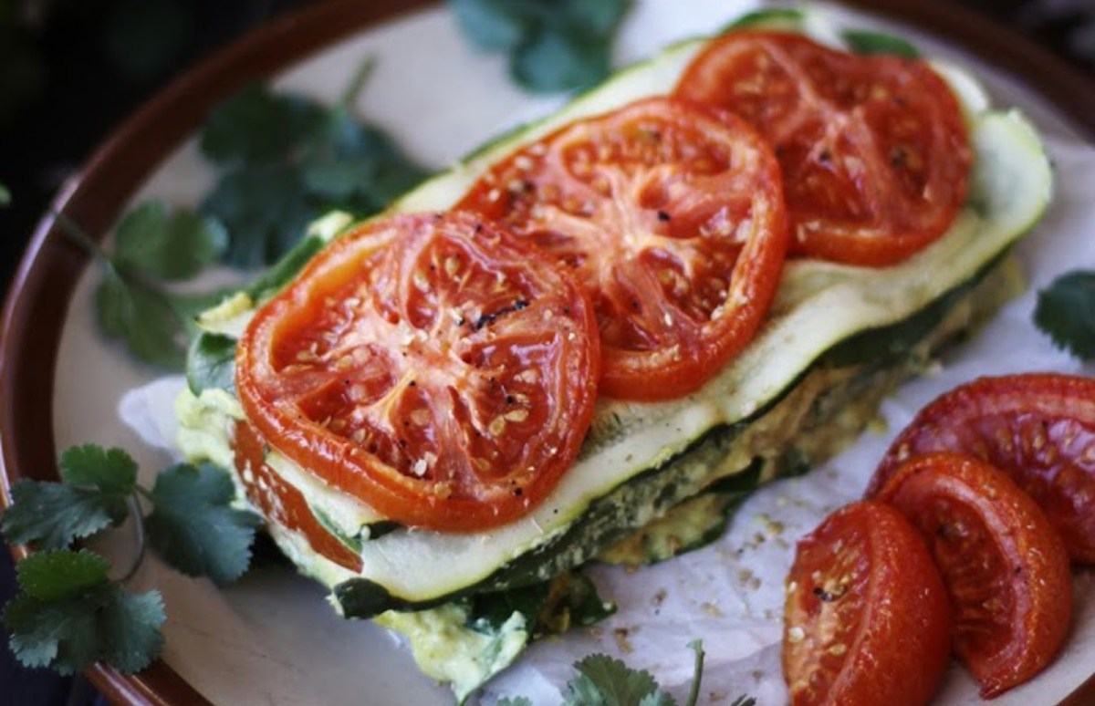 Vegan Raw Gluten Free Raw Zucchini Tomato Lasagna With Cashew Herb Cheese