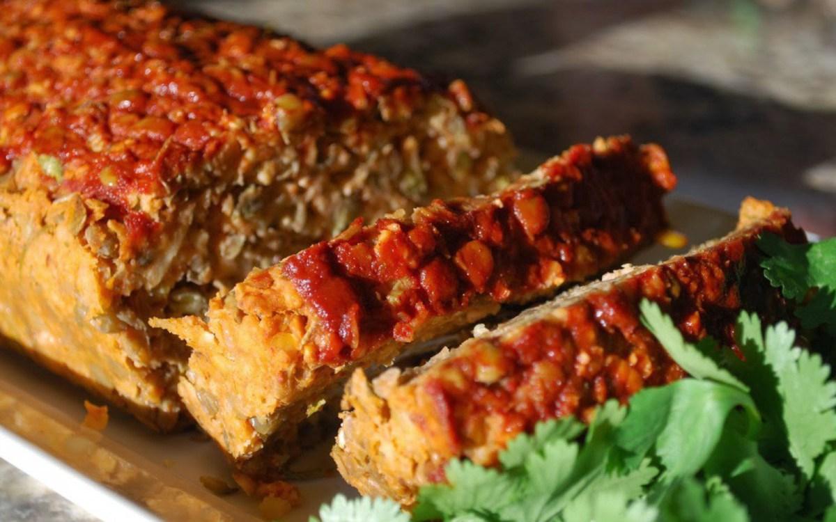 lentil loaf with smoked paprika glaze