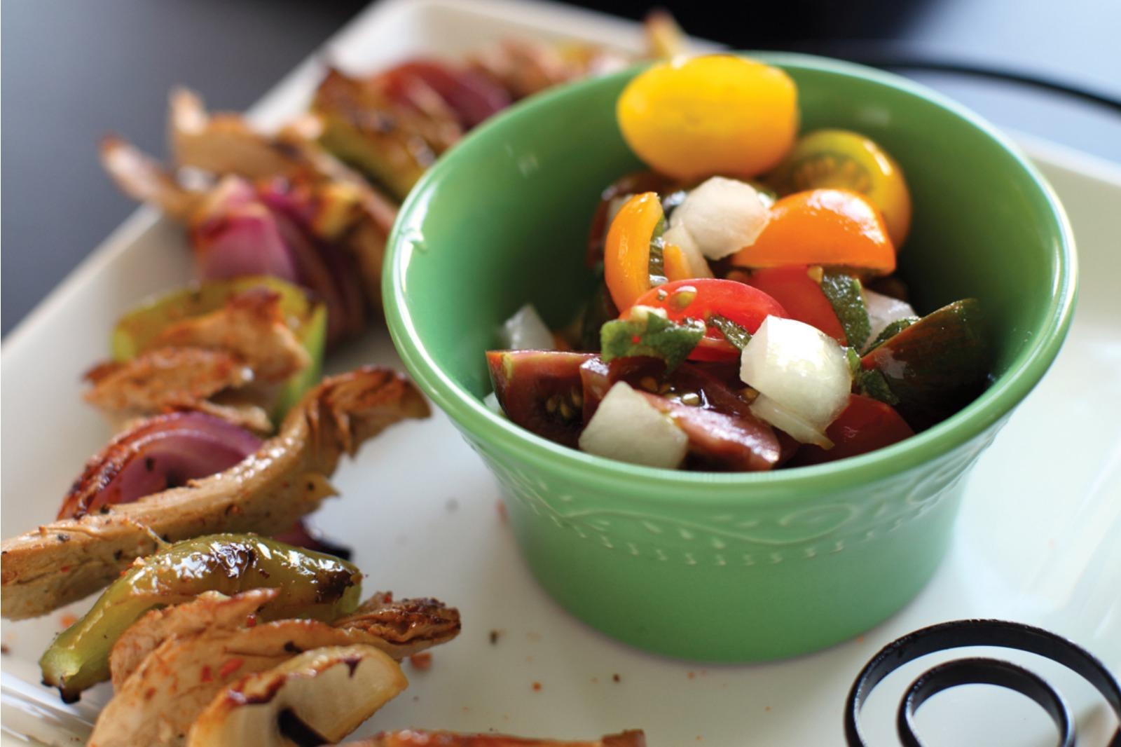 Seitan Kebabs with Sangria Tomato Salad [Vegan]