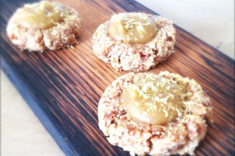 Almond Frangipane Cookies With Pear Lemon Caramel [Vegan, Raw, Gluten-Free]
