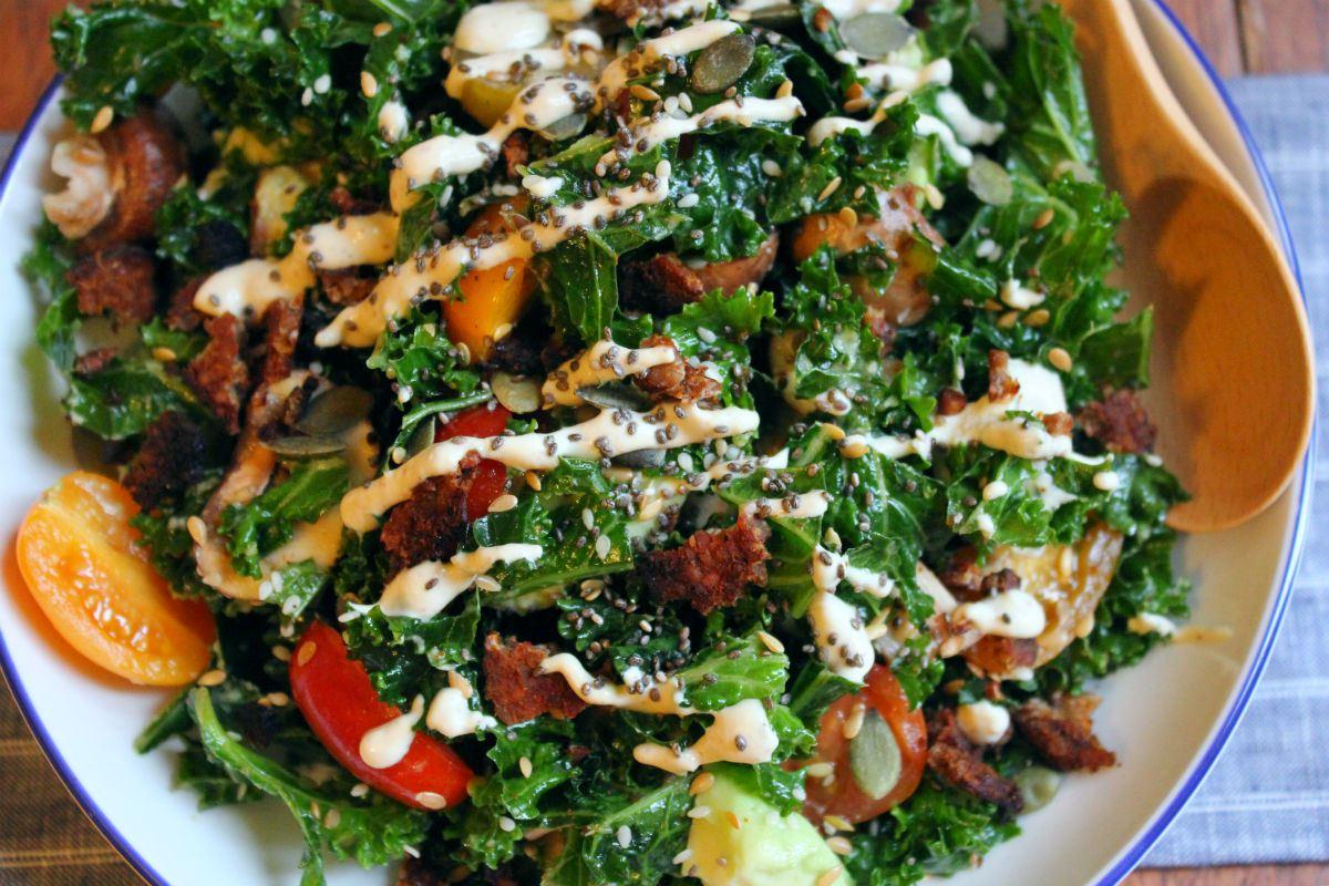 Super Protein Kale Caesar Salad