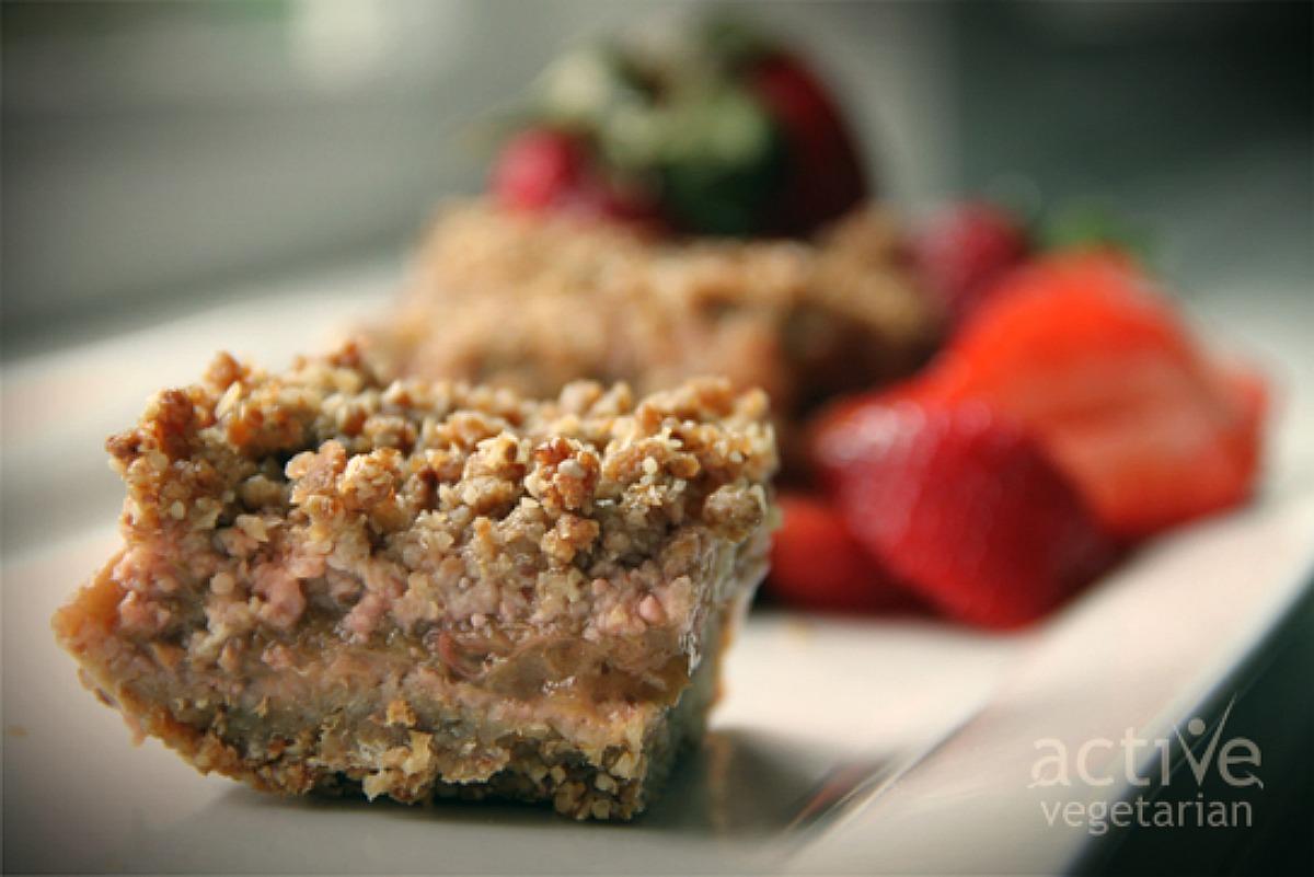 Healthy Strawberry, Rhubarb Bar [Vegan, Gluten-Free]