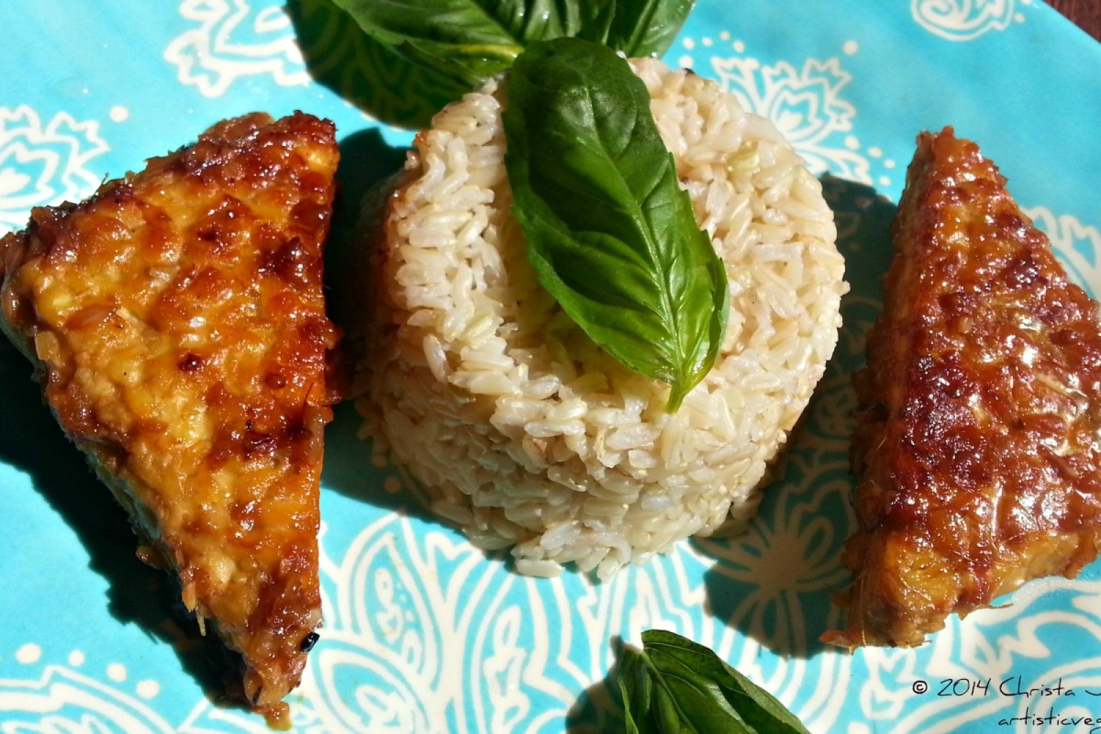 Lemon Glazed Ginger Tempeh With Brown Rice and Fresh Basil [Vegan, Gluten-Free]
