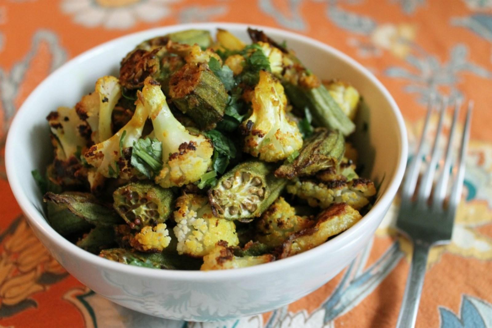 Crispy Spiced Cauliflower and Okra [Vegan, Gluten-Free]