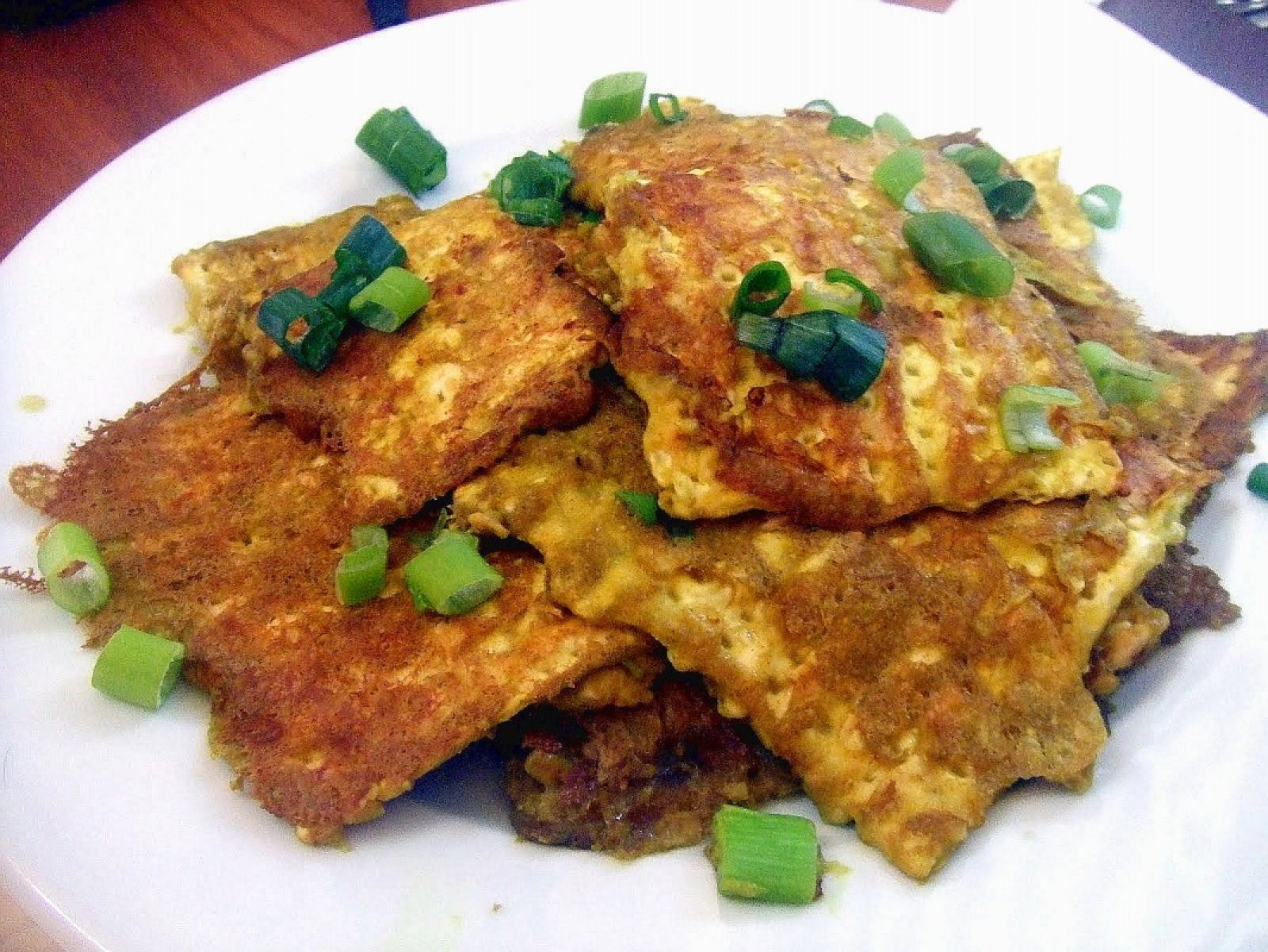 Vegan Fried Matzo with Green ONions