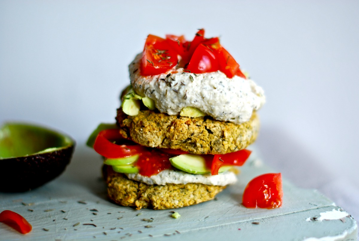 Artichoke Chickpea Patties With Cashew Thyme Cream [Vegan, Gluten-Free]