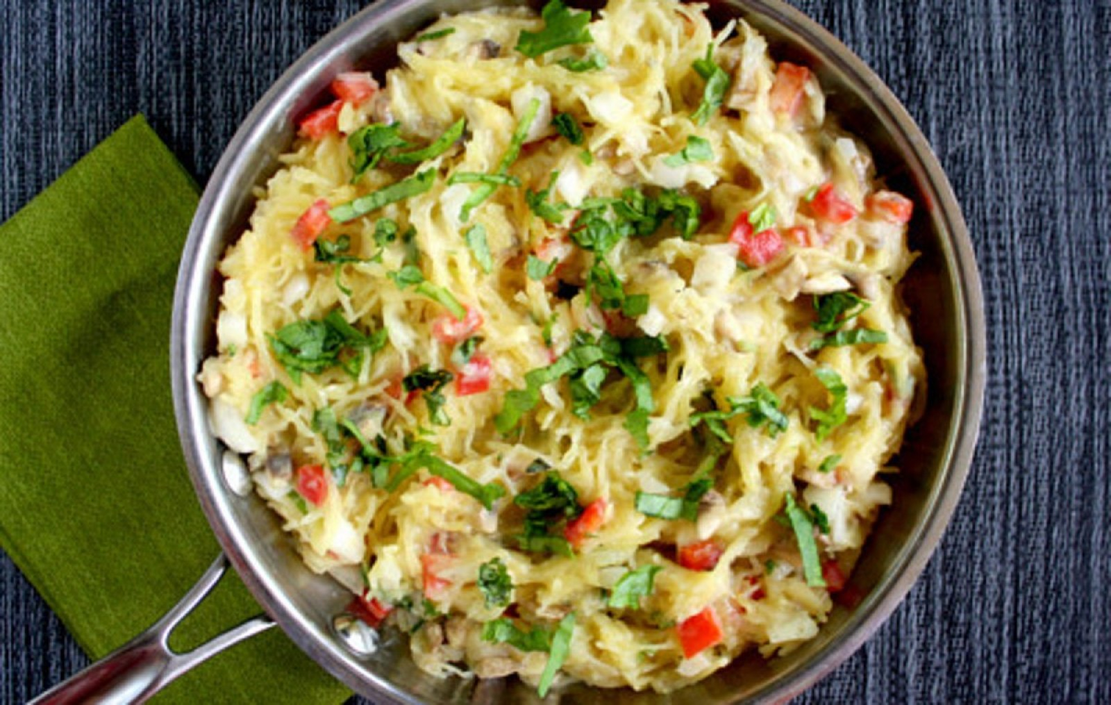 Vegan Spaghetti Squash With Basil and Creamy Cauliflower Alfredo Sauce with vegetables