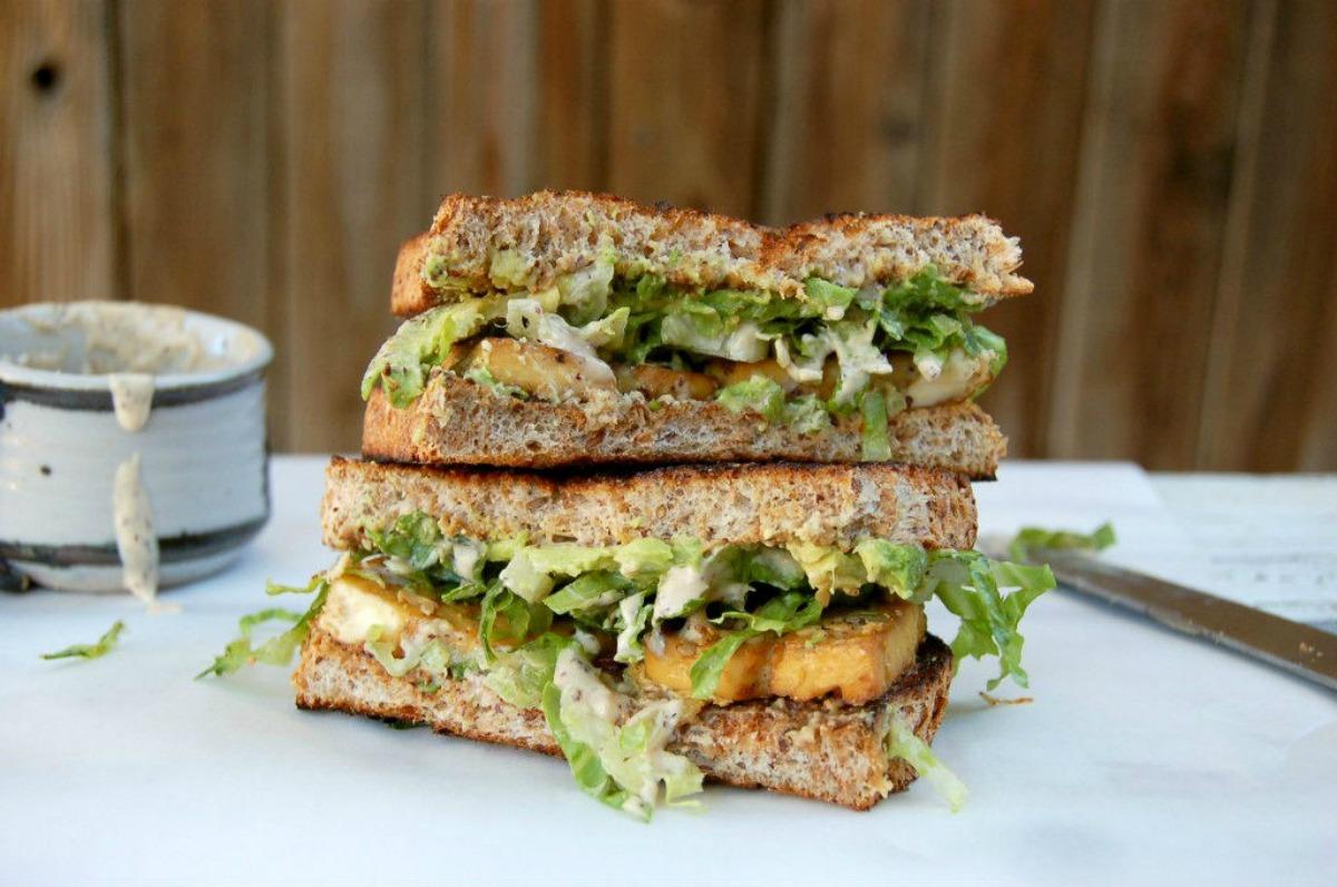Baked Tofu Caesar Sandwich [Vegan]