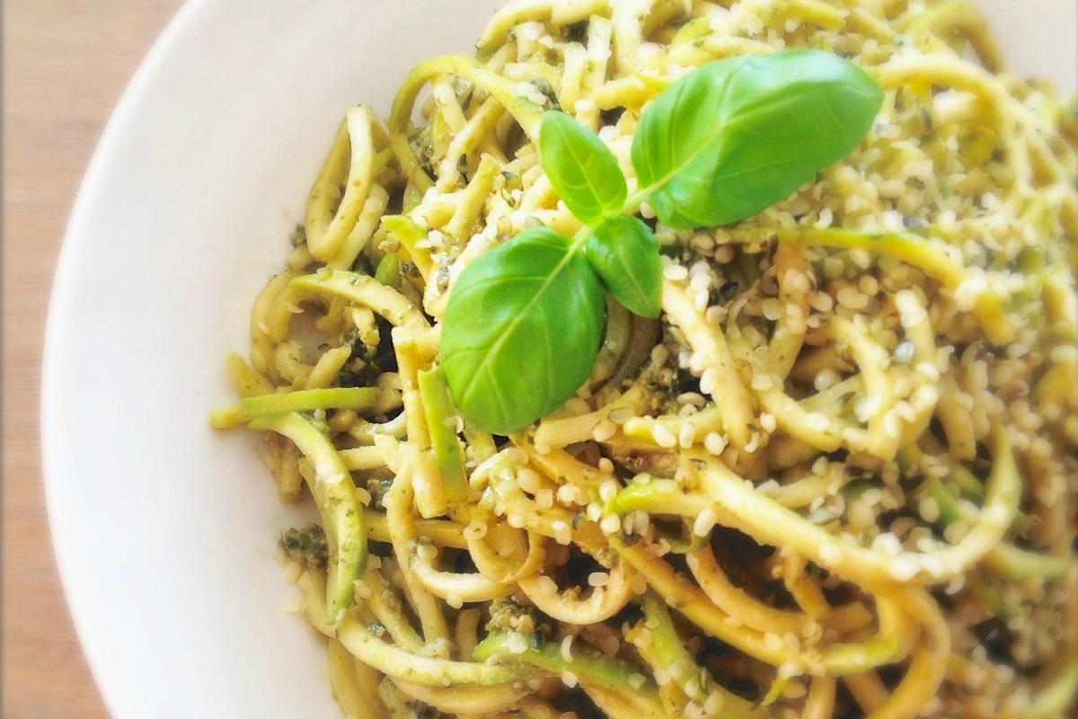 Vegan Zucchini Pasta With Basil Hemp Pesto