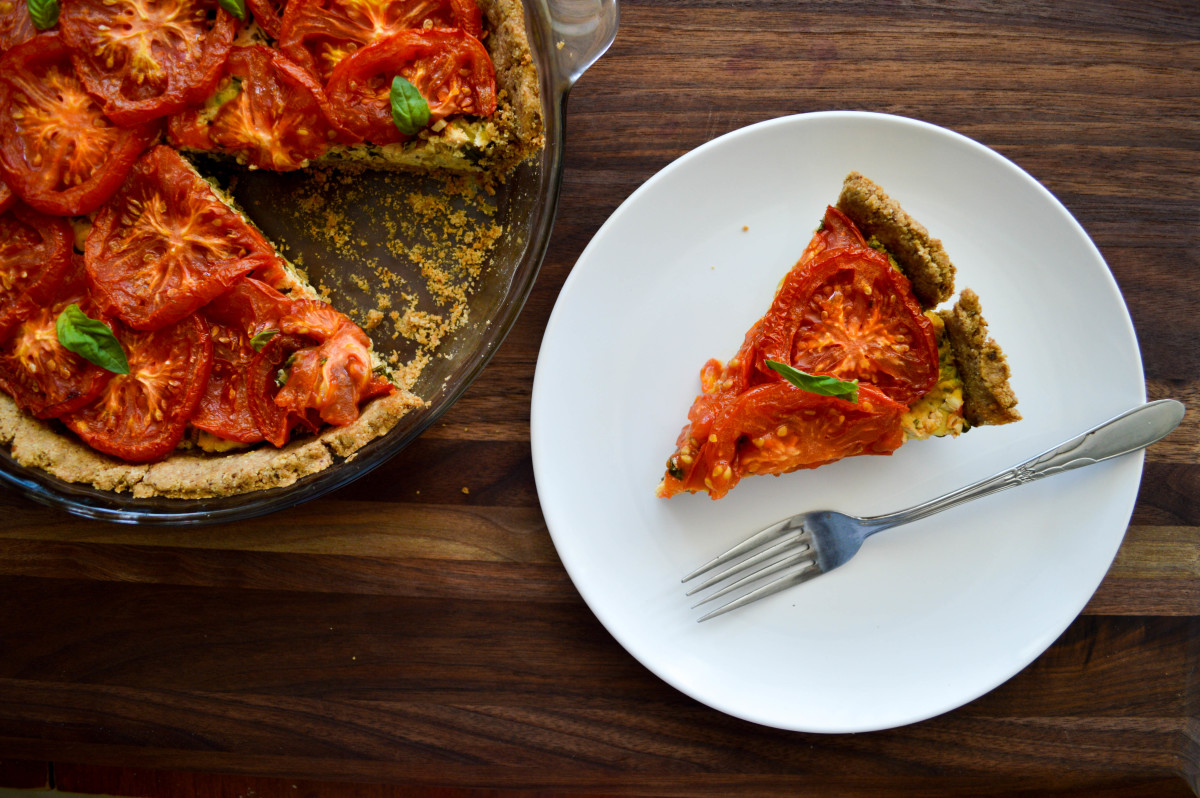 Vegan Roasted Tomato and Herb Quiche