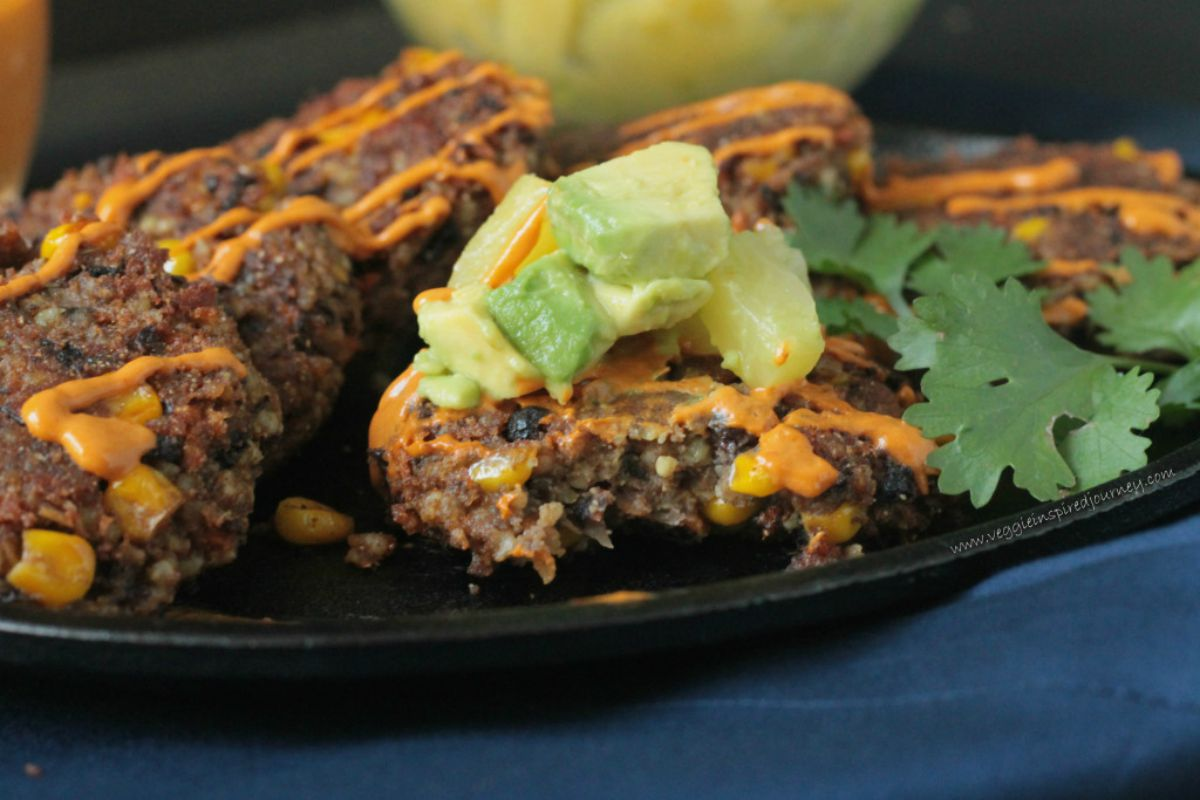 Smoky Black Bean Patties With Pineapple Avocado Salsa [Vegan, Guten-Free]