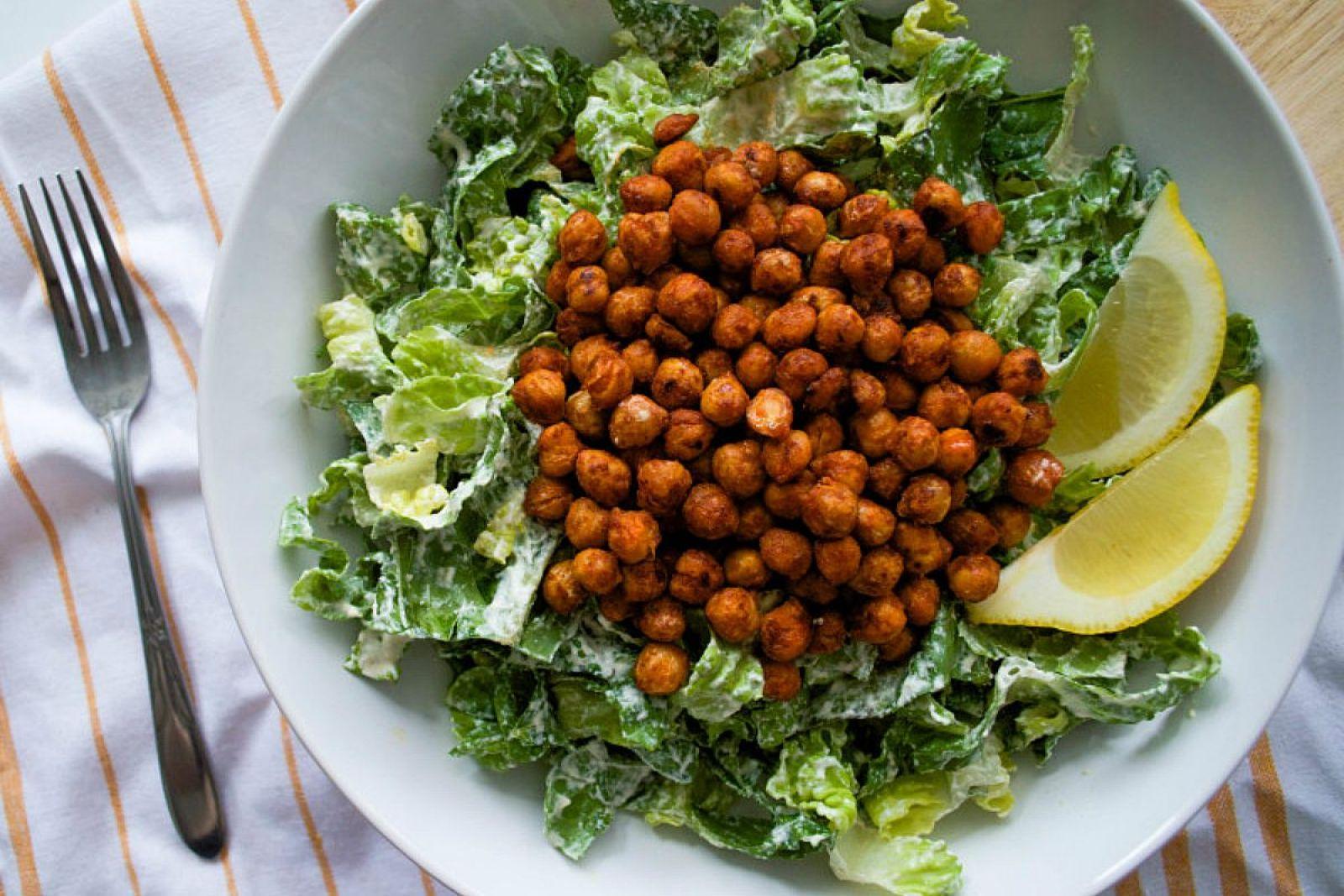 Buffalo Chickpea Caesar Salad [Vegan]