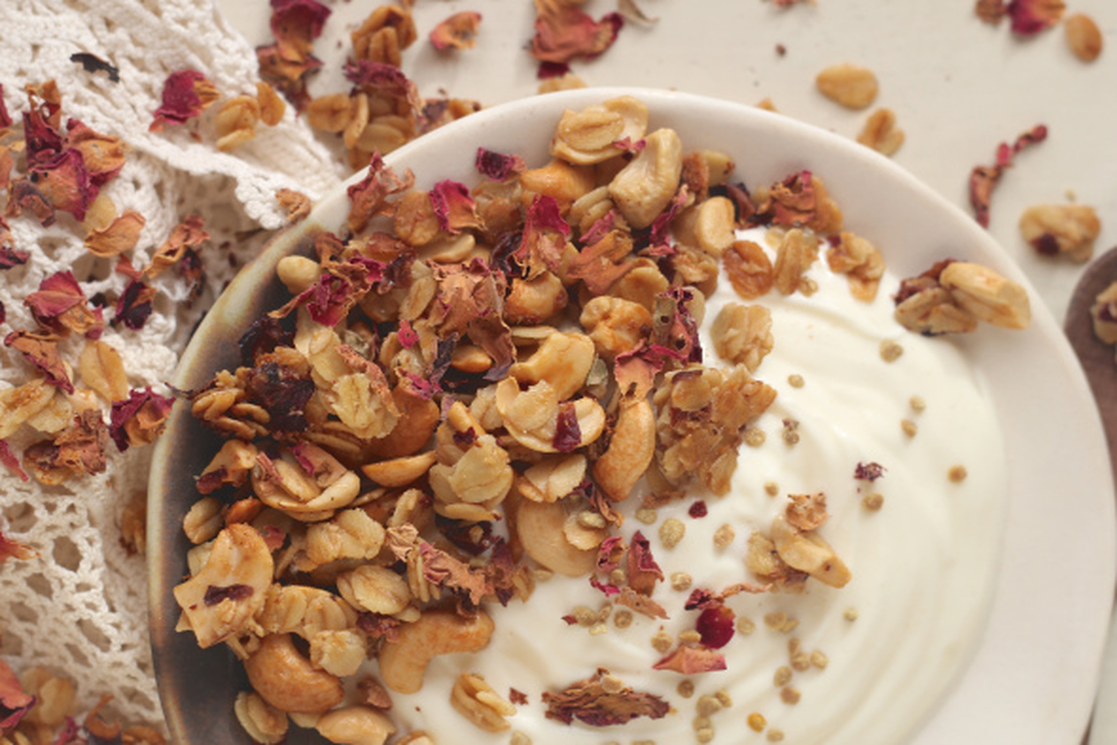 Rose Petal, Cashew, and Olive Oil Granola [Vegan]