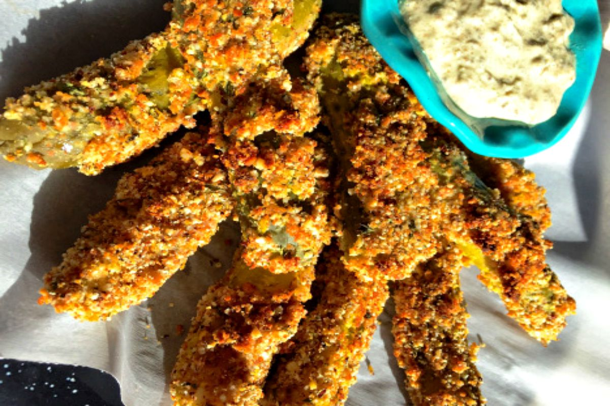 Vegan Oven-Fried Pickles