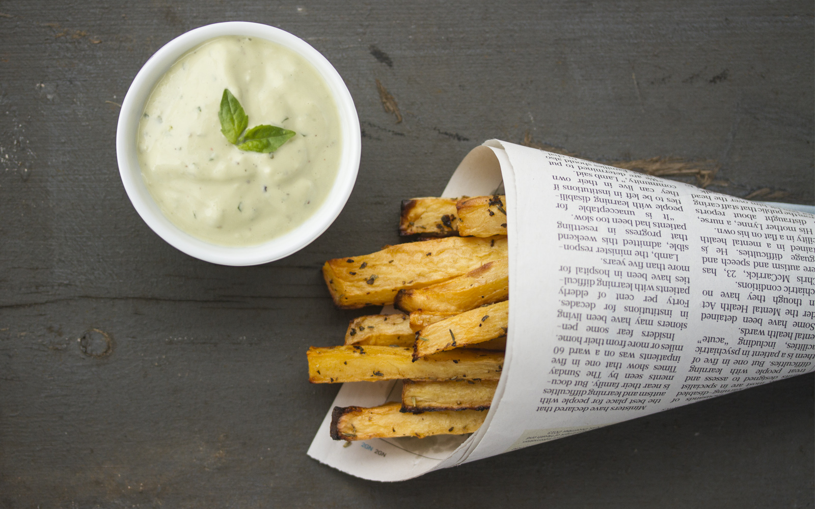 Rutabaga Fries With Basil Mayo [Vegan, Gluten-Free]