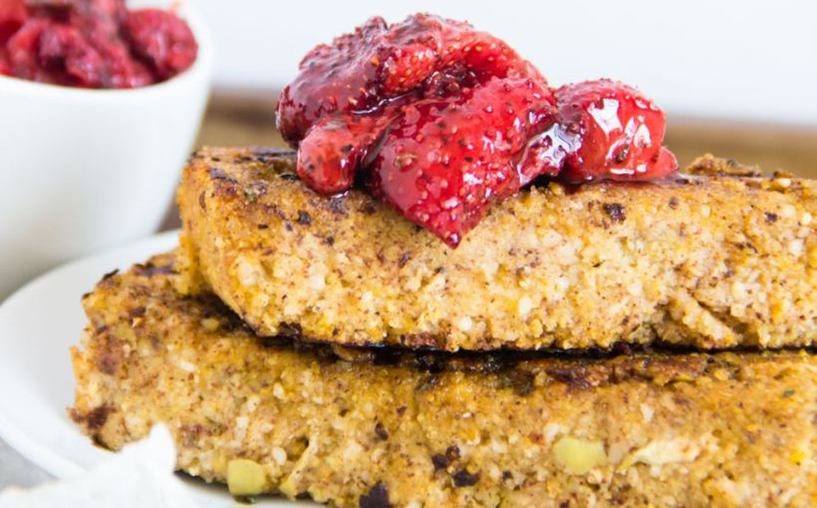 Apple Cornbread French Toast Cake With Roasted Strawberries